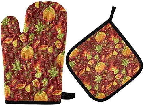 WXM Guantes de horno y soportes para ollas vintage Cactus-Multi01, protegen los guantes de horno de microondas de cocina resistentes al calor, utilizados para hornear, asar a la parrilla