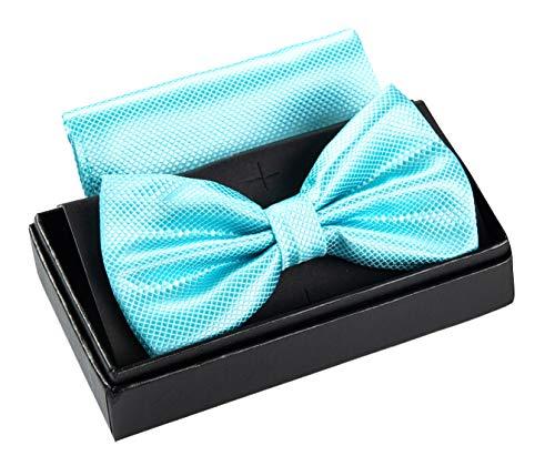 Massi Morino ® Herrenfliegen Set mit Tuch in Türkis Männer Anzug Schleife Krawattenfliege bowtie türkisfarben türkisefliege grünblau eisgrün türkisgrün eisblau aquamarin