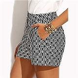 FENGLINZEKANG Mittlere Taille Shorts for Frauen Casual elastische Kurze Hosen mit Taschen -