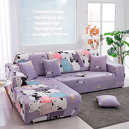 Funda de sofá elástica Antipolvo seccional en Forma de L de Esquina Funda de sofá de Envoltura Ajustada Funda de sofá para Mascotas A10 4 plazas