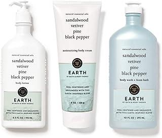 Bath and Body Works Aromatherapy EARTH - Sandalwood Vetiver Pine Black Pepper - Trio Gift Set - Body Lotion 6.5 oz, Body W...