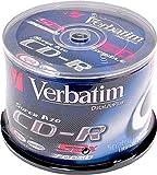 1x50 Verbatim CD-R Rohlinge, Discs, 80min, 700MB, 52x, Super AZO, Data Life Plus, Cakebox Spindel, 43343