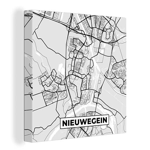 Canvas Schilderijen - Stadskaart - Nieuwegein - Grijs - Wit - 90x90 cm - Wanddecoratie - canvas met 2cm dik frame