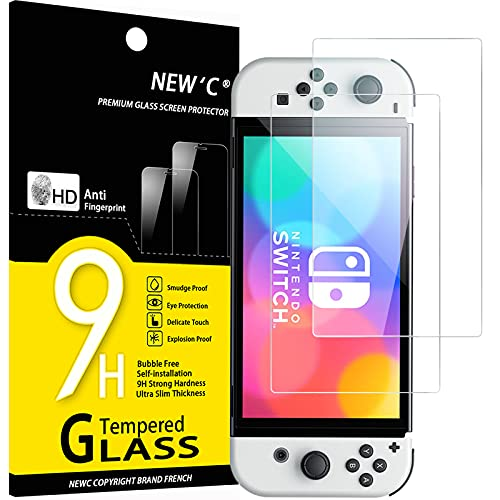 NEW'C 2 Unidades, Protector de Pantalla para Nintendo Switch (modèle OLED), Antiarañazos, Antihuellas, Sin Burbujas, Dureza 9H, 0.33 mm Ultra Transparente, Vidrio Templado Ultra Resistente