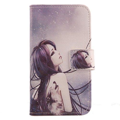 Lankashi PU Flip Leder Tasche Hülle Hülle Cover Schutz Handy Etui Skin Für Doogee Voyager2 Dg310 Wolf Girl Design