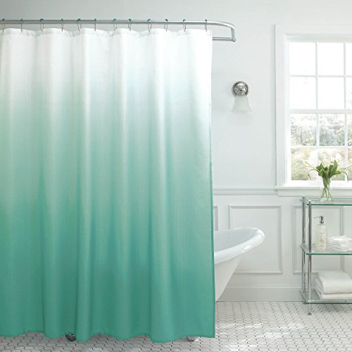 Creative Home Ideas Ombre Textured Shower Curtain with Beaded Rings, Marine Blue