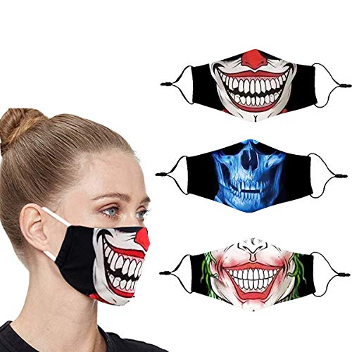 Villas Cloth Designer Cute Halloween Clown Face Mask Breathable Thin Reusable Funny Washable Adjustable Fashion Cotton Cooling Fabric Scary Lightweight for Men Women Sports (Gray)