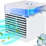 BASEIN Mobile klimageräte, Mini Air Cooler, 3 in 1 Klimaanlage, Luftbefeuchter und Luftreiniger, USB Mini luftkühler mit wassertank und 3 Leistungsstufen, 7 LED-Leuchten für Zuhause und Büro