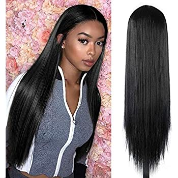 FORCUTEU 30 inches Black Lace Wigs for Women Silky Straight Long Synthetic Hair Wigs Middle Part Hairline Party Cosplay Wigs Heat Resistant Fiber Natural Looking Wig (Black)