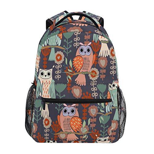 Ombra Backpack Cute Owl Flower Pattern School Shoulder Bag Large Waterproof Durable Bookbag Laptop Daypack for Students Kids Teens Girls Boys Elementary