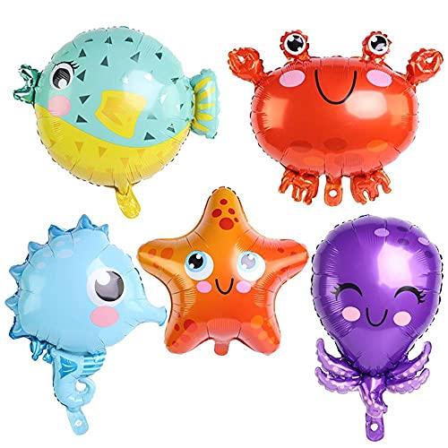 CUIZC Dibujos animados de animales marinos de aluminio, globo, pescado, estrella de mar, cangrejo, delfín, pulpo, globo para niños, decoración de cumpleaños