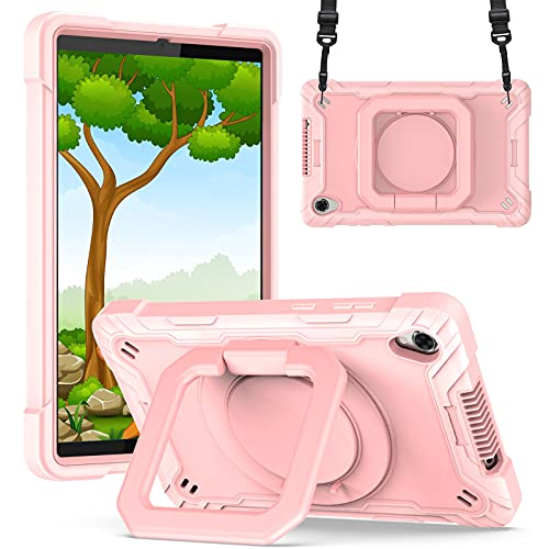 KATUMO Funda Compatible con Lenovo Tab M8 FHD 8 Pulgadas 2020 (Modelo: TB-8705F / 8705N), Funda Protectora Resistente a los Golpes con Soporte Giratorio de 360 ° y Correa de Mano,Oro Rosa