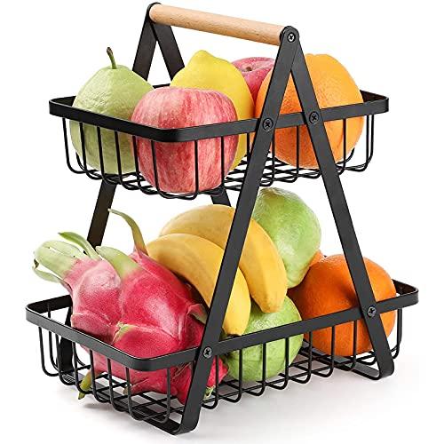 Portátil 2 Niveles Canasta de Frutas,Metal Desmontable Cesta Organizadora de Frutas con asa,Encimeras Estante de Almacenamiento de Frutas Para Cocina,Comedor