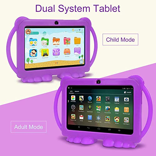 Xgody T702 7 Inch HD Kids Tablet PC Quad Core Android 8.1 1GB RAM 16GB ROM Touch Screen with WiFi Pre-Loaded 3D Game Dual Camera, GMS Certified Kids-Proof Toddler Tablets Purple