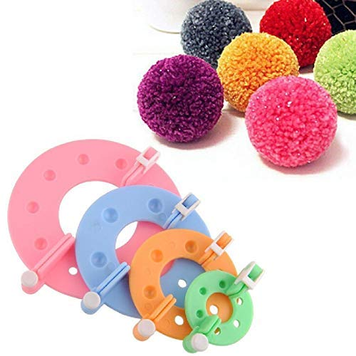 Romote 8 Pcs 4 Größen Pom Pom Maker Pompon Set Fluff Kugel-Weber-Nadel Craft Tool Kit für Mützen Schals Kleidung Strickmütze Basteln