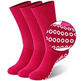 Diabetic Yoga Socks,JSPA Non Slip Casual Socks - Ideal for Home, Indoor Yoga, and Hospital - for Men and Women Soft Cotton Non Binding Diabetic Crew Socks with Seamless Toe 3 Pairs Rose Red