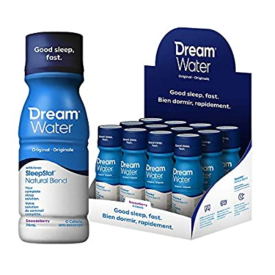 Dream Water Sleep Aid; GABA, MELATONIN, 5-HTP, 2.5oz Shot, Snoozeberry, 12 Count