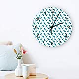 Peacock Decor Wall Clock Quiet Non-Ticking, 12' Wooden Clock Battery Operated for Living Room, Office, Home Decor & Gift Peacock Feathers Turquoise Simple Minimalistic Design