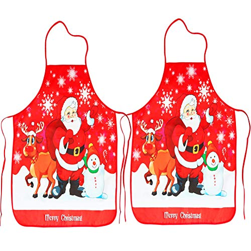 2 Pack Christmas Aprons,Runloon Santa Claus/Elk/Snowman Style Holiday Kitchen Decoration Apron for Christmas Dinner Party, Cooking, Baking Crafting, House Cleaning, Kitchen,BBQ-2021 Upgrade