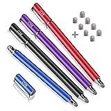 Bargains Depot Lápiz capacitivo de fibra de alta sensibilidad de 5 mm para todas las tabletas y teléfonos celulares (negro+azul+morado+rojo)