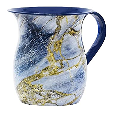 The Kosher Cook Stainless Steel Netilat Yadayim Cup – Blue and Gold Stone Painted Design - Looks Like Ceramic - Rust, Break and Crack Proof Negel Vasser Cup - Judaica Gift Collection by