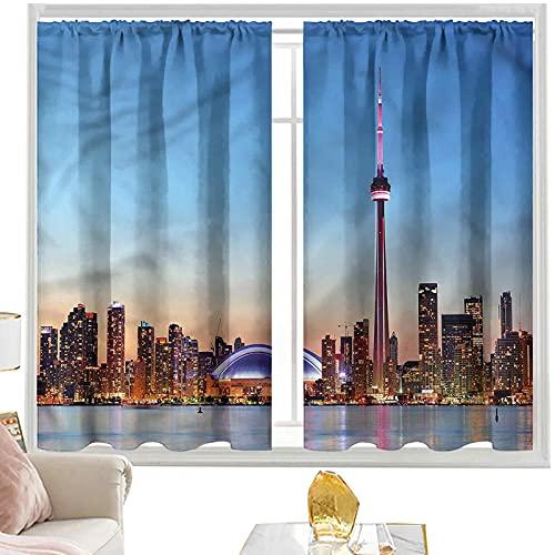 Cortinas de bloqueo de luz modernas, Canadian Sky Toronto City W42 x L63 pulgadas cortinas opacas con bolsillo para barra