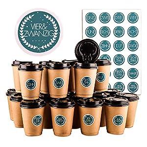 Calendario de Adviento Tazas, 24 Tazas de Café con Calendario de Adviento, 24 Pegatinas Navideñas Numeradas (4,5 cm) y Cubierta Negra, Que Se Utilizan para Decorar y Llenar el Calendario Adviento(Cian