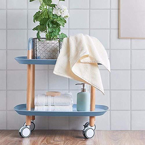 NBVCX Möbel Dekoration Haushaltsregale Regale 2 Tier Utility Rollwagen Sofa Beistelltisch mit Rädern Metalltablett Beistelltisch Wohnzimmer Schlafzimmer Nachttisch 3 Farben Gestelle BT Blau