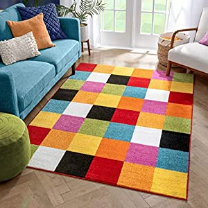 Well Woven Modern Rug Squares Multi Geometric Accent 5′ x 7′ Area Rug Entry Way Bright Kids Room Kitchn Bedroom Carpet Bathroom Soft Durable Area Rug