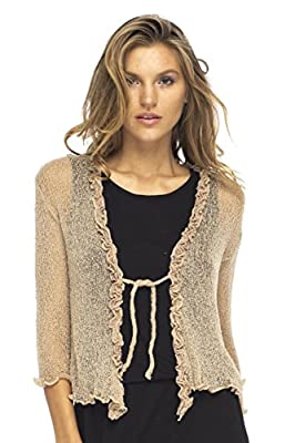 Back From Bali Womens Sheer Shrug Cardigan Sweater Ruffle Lightweight Knit Mocca One Size from