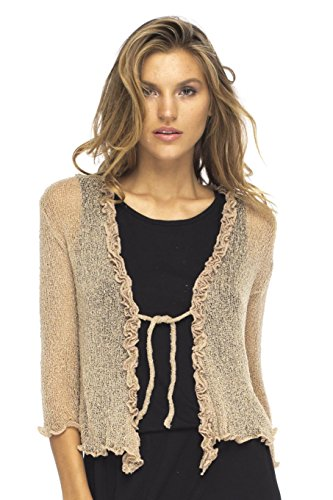 Back From Bali Womens Sheer Shrug Cardigan Sweater Ruffle Lightweight Knit  Mocca One Size