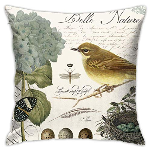 Vintage French Bird and Dragonfly Decorative Throw Pillow Covers Decorative 18x18 Inch Pillowcase Square Cushion Cases for Home Sofa Bedroom Livingroom