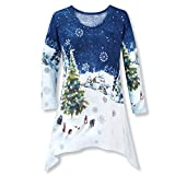 Dressy Christmas Tunic for Women in Blue