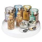 mDesign Plato Giratorio para estantes de Cocina – 27,9 cm de diámetro – Práctico Soporte para Especias para los armarios de la Cocina – Especiero Giratorio de plástico – Blanco