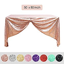 Rose Gold Glitter Sequin Overlay Table Cloth