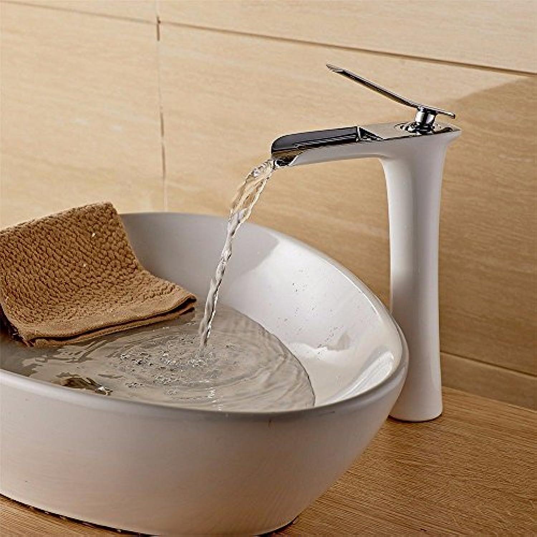 Lalaky Waschtischarmaturen Wasserhahn Waschbecken Spültisch Küchenarmatur Spültischarmatur Spülbecken Mischbatterie Waschtischarmatur Kupfer Hochgebranntes Wei + Galvanischer Wasserfall