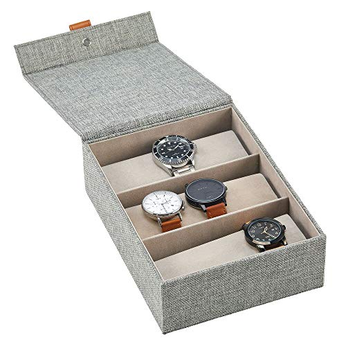 mDesign Joyero para Relojes de Tela – Elegante Caja con Tapa y 3 Compartimentos para Guardar Relojes – También idónea como Caja...
