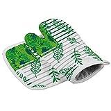 Traasd11an Guanti da forno e presine, foglie verdi e linee che giuntono, resistenti al calore, antiscivolo per uso alimentare, guanti da cucina per cucina, cucina, cottura, barbecue