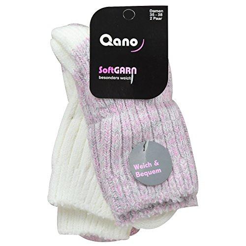 Qano 2048 2er Pack Damen Socken extra weich rosemelliert/naturmelliert (35-38)