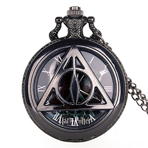 TYYW Reloj de Bolsillo, Triángulo Retro Black Hueco Cuarzo Reloj de Bolsillo Clásico Hombres Mujeres Collar Colgante Fob Reloj Regalos para Hombres Niños
