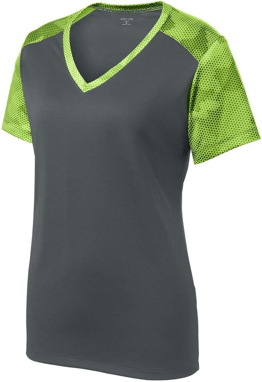 Joe's USA Ladies VNeck CamoHex Moisture Wicking Athletic Training TShirts. XS4XL