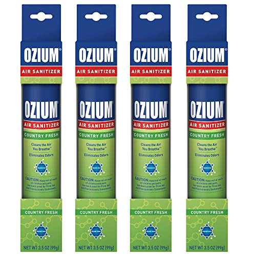 Ozium 3.5 Oz. Air Sanitizer & Odor Eliminator 4 Pack for Homes, Cars, Offices and More, Country Fresh, 4 Pack