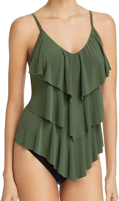 Magicsuit 2 Piece Tankini Set  Rita Ruffle Tiered Swimsuit Top & Extreme High Waist Tummy Control Briefs 10 8 Olive