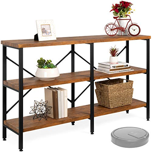 Best Choice Products 55' Rustic 3-Tier Console Sofa Table, Industrial Foyer Table for Living Room, Entry Way, Hallway, Robo Vac Compatible w/EVA Non-Scratch Feet, Wood Grain Finish, Steel Frame