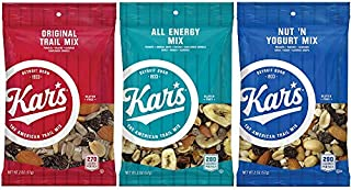 Kar's Nuts Trail Mix – Variety Flavors – Original Trail Mix, All Energy, Nut N Yogurt Unsalted - 2 ounce bags, Case of 48 bags