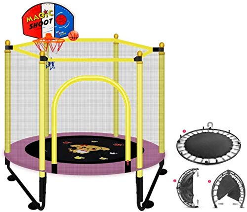 YIHGJJYP Foldable Fitness Bouncer with Padding workout mini rebounder trampoline indoor outdoor for adults and children toddler trampolines families garden pink