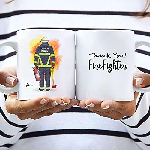 Feuerwehrmann Doppelseitig Memory Tasse | Individuelle Kaffeetasse personalisiert | Feuerwehr Geschenk | weiße Keramiktasse