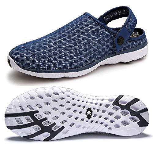 Chanclas y Sandalias de Piscina para Hombre Mujer Zuecos Zapatillas De Verano Antideslizante Ligeros Zapatos de Agua Trabajo Negro Azul
