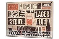 カレンダー Perpetual Calendar Beer Bar Pub Types of beer Tin Metal Magnetic Vintage
