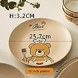 Chanety,taza de agua aislada,taza de agua Oso bebé porcelana vajilla conjunto plato de tazón vajilla para niños dibujos animados creativo vajilla taza de agua plegable (Color : 10 inch platter)